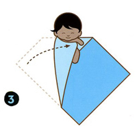 How to swaddle a newborn step three