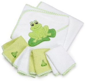 Hooded baby bath towel and washcloths